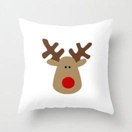 Christmas Reindeer-White Throw Pillow
