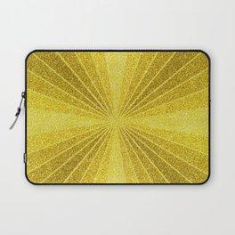 Geometric gold glitter mosaic, diagonal sun rays, gold abstract sparkles Laptop Sleeve