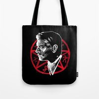 supernatural Tote Bags featuring Supernatural by Grace Mutton