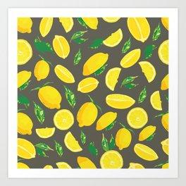 Lemon Citrus Pop Moody Art Print