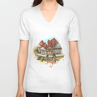 prague V-neck T-shirts featuring Prague by Hande Unver