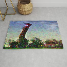 Lighthouse in a storm Rug