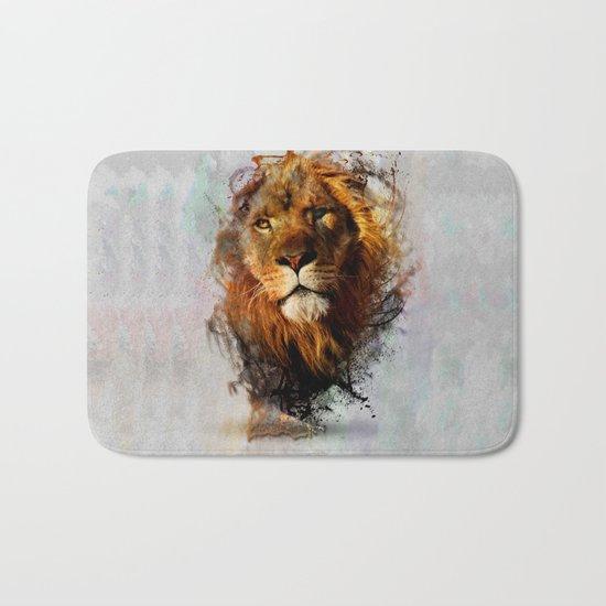Water Color Splash Lion Bath Mat