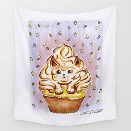 Lemon Meringue Cat Cupcake Wall Tapestry