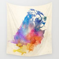 wall clock Wall Tapestries featuring Sunny Leo   by Robert Farkas