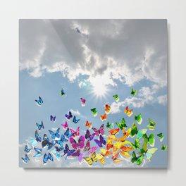 Butterflies in blue sky Metal Print