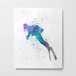 Man scuba diver 02 in watercolor Metal Print