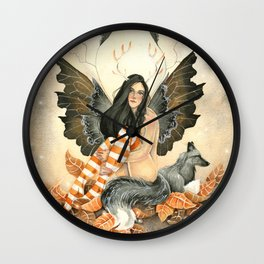Silver Fox Fall Wall Clock