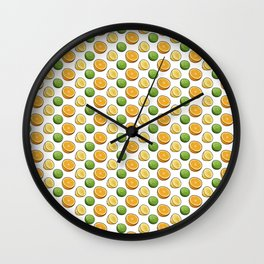 Citrus Medley. Lemon, Lime and Orange Slices on White Wall Clock