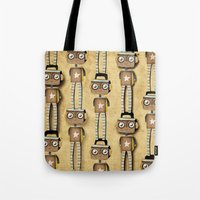 robots Tote Bags featuring Robots  by Ruth Fitta Schulz