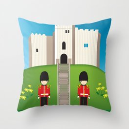 Cardiff, Wales - Skyline Illustration by Loose Petals Throw Pillow