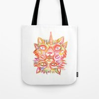 lsd Tote Bags featuring LSD cat by AlexTroi