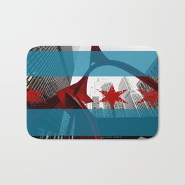 Flamingo Chicago Flag Bath Mat