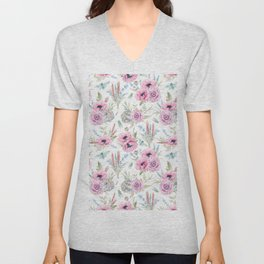 Mauve pink lilac green watercolor cactus roses floral Unisex V-Neck