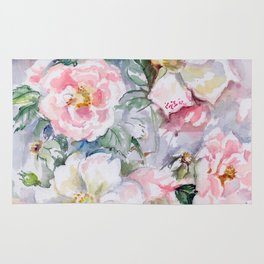 White Wild Roses Watercolor painting White Pink Rose Flower Bouquet Wedding decor Rug