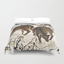 Deer in Snow Duvet Cover