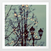bokeh Art Prints featuring Winter Lights by elle moss