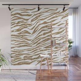 White & Glitter Animal Print Pattern Wall Mural