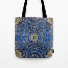 Blue Gold Lacy Mandalas Tote Bag