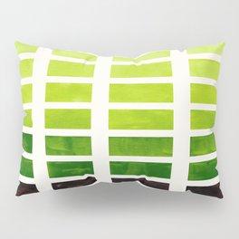 Gouache Watercolor Sap Green Geometric Square Matrix Stencil Pattern Pillow Sham