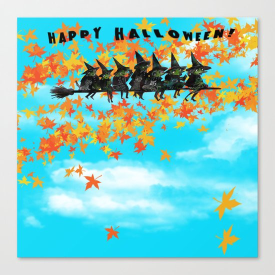 Seven Witches on a Broom.  Canvas Print