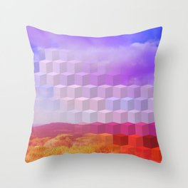 Ultra Surreal Countryside Violet Rainbow Throw Pillow