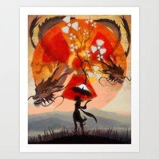 umbrellaliensunshine: atomic dragonspring Art Print