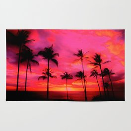 tropical pink, palm trees at sunset sundown,,,house of harlequin Rug