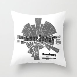Hamburg Map Throw Pillow