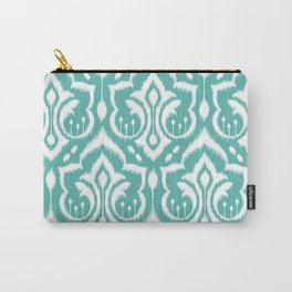 Ikat Damask Aqua Carry-All Pouch