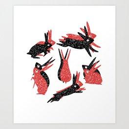 Black and Red Rabbits Art Print