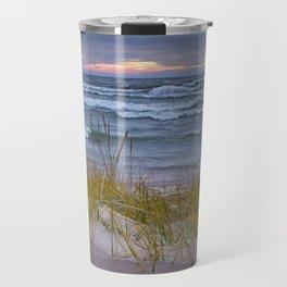Lake Michigan Dune with Beach Grass at Sunset Travel Mug