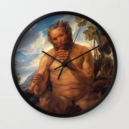 "Jacob Jordaens ""Satyr Playing the Pipe (Jupiter's Childhood)"" Wall Clock"