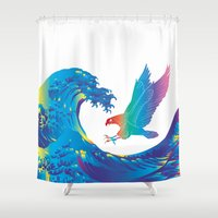 hokusai Shower Curtains featuring Hokusai Rainbow & Eagle by FACTORIE