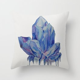 Blue Crystal Throw Pillow