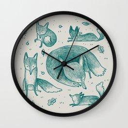 Fox Pattern Wall Clock