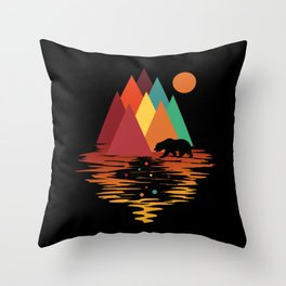 Geometric Space Mountains Throw Pillow