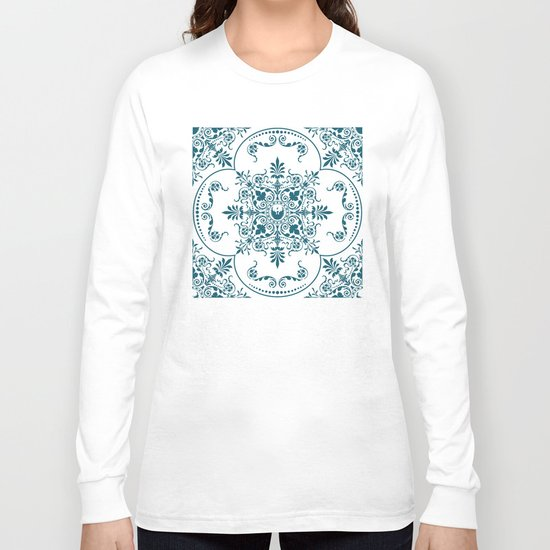 Decorative Pattern in Creme and Blue Long Sleeve T-shirt