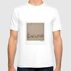 Enough! White Mens Fitted Tee MEDIUM