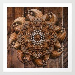 Wooden Mandala Art Print