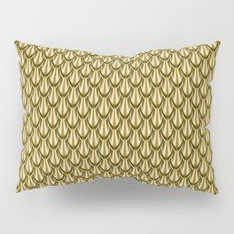 Gleaming Gold Leaf Scalloped Scale Pattern Pillow Sham