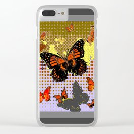 Abstracted Black & Orange Monarch Butterflies Grey Art Clear iPhone Case