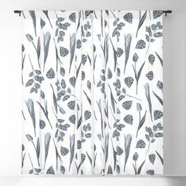 Modern botanical gray mauve teal floral pattern Blackout Curtain