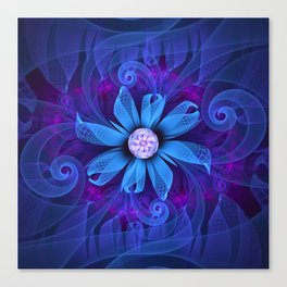 A Snowy Edelweiss Blooming as a Blue Origami Orchid Canvas Print