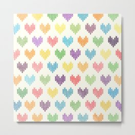 Colorful Knitted Hearts II Metal Print