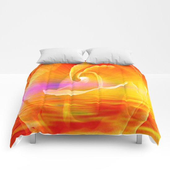 Sunset Rose Abstract Comforters