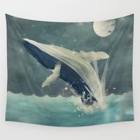 swimming Wall Tapestries featuring night swimming by bri.buckley