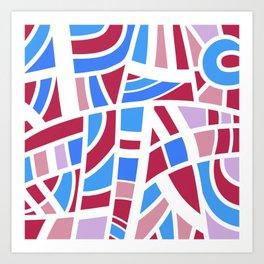 Broken Pink And Blue Abstract Art Print