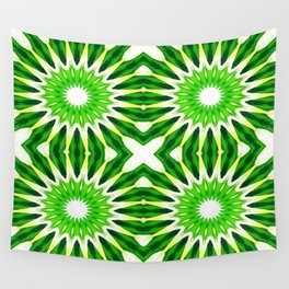 Serene Green Pinwheel Flowers Wall Tapestry