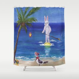 Easter Bunny at the Beach Shower Curtain
